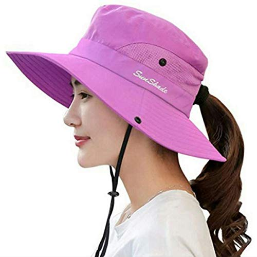 Womens UV Protection Wide Brim Sun Hats - Cooling Mesh Ponytail Hole Cap Foldable Travel Outdoor Fishing Hat Pure Purple