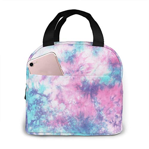 PrelerDIY Pastel Blue Pink Tie Dye Lunch Box Insulated Meal Bag Lunch Bag Reusable Snack Bag Food Container For Boys Girls Men Women School Work Travel Picnic