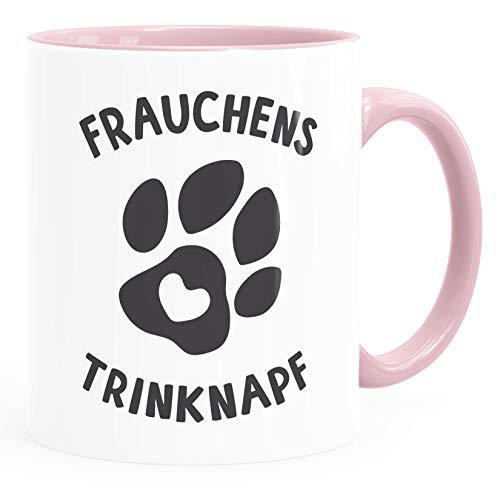 MoonWorks Taza de café con texto en alemán 'Frauchens Trinknapf Hundepfote-Motiv taza Bürotasse Hundeliebhab', cerámica, Bebedero de mujer rosa, talla única
