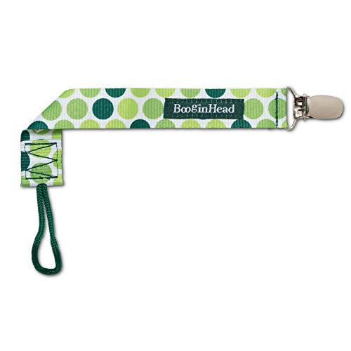 BooginHead Baby Newborn PaciGrip Pacifier Clip, Holder, Toy, Teether, Soothie, Universal Loop Girl, Boy, Hopper, Polka Dots, Green