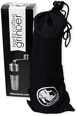 Rhino Coffee Gear Hand Coffee Grinder, Silver