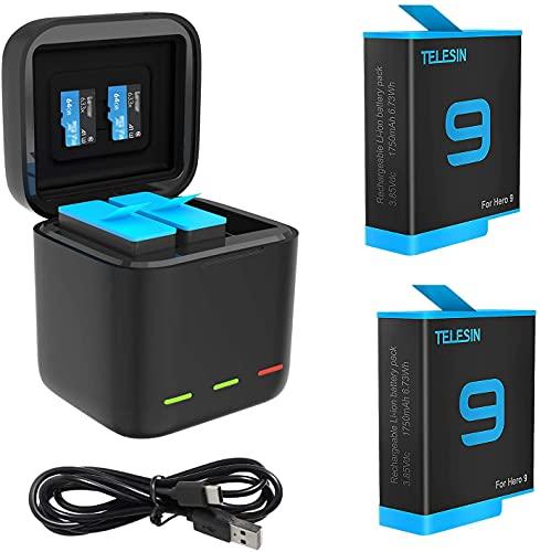 TELESIN Caricabatteria tripla e scatola di immagazzinaggio di batteria con caricabatteria a 3 canali con 2 batterie ricaricabili agli ioni di litio per Gopro Hero 10/Hero 9 (Caricatore + 2 batterie)