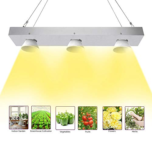 Niello COB LED Grow Light, 600w Sunlike Vollspektrum LED Pflanzenlampe with Reflective Cup, High PAR & High Lumen Growing Lamp, No Noisy Plant Light for Hydroponics Greenhouse Veg and Flower