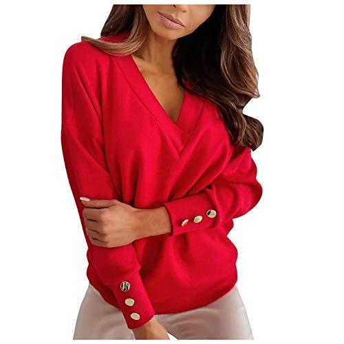 Sweatshirt Damen Langarm Locker Pullover Plus Size Einfarbig Oberteile mit Tasten Frauen Sexy Große Größen V-Ausschnitt Tops Hemd Elegant Herbst Winter Bluse Mädchen Lässig Tunika Basic Shirts