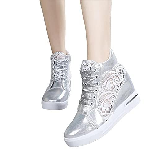 SHADIOA Zapatillas de Deporte con Plataforma de cuña para Mujer, Zapatillas de Deporte con Plataforma Gruesa de Malla, Calzado Informal con Tacones de cuña,Gris,39