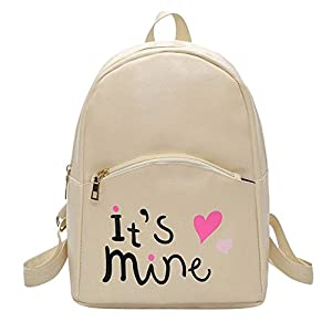 Bizarre Vogue Cute Medium It's Mine Printed Style Backpack College bag for Girls (Cream,BV1210)