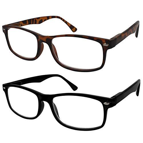 TBOC Gafas de Lectura Presbicia Vista Cansada - (Pack 2 Unidades) Graduadas +2.00 Dioptrías Montura de Pasta Marrón Carey y Negra Diseño Moda Hombre Mujer Unisex Lentes Aumento para Leer Ver de Cerca