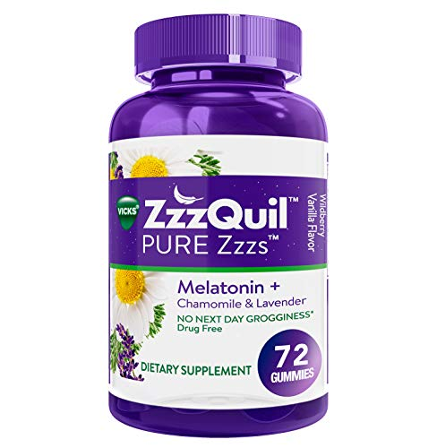 ZzzQuil Pure Zzzs Melatonin Sleep Aid Gummies, 72 ct, with Chamomile