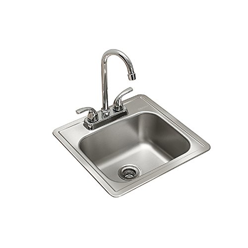 KINDRED Stainless Steel, Essentials All-in-One Kit 15 x 6-inch Deep Drop-in Bar or Utility Sink in...