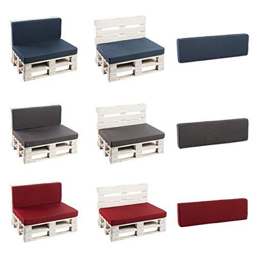Palettenkissen Sitzkissen, Rückenkissen Schaumkissen glatt PFK (Rückenlehne 120x40, Grau)