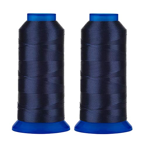 Selric [3000 Yards / 30 Colors Available] Pack of 2 UV Resistant High Strength Polyester Thread #69 T70 Size 210D/3 for Upholstery, Outdoor Market, Drapery, Beading, Purses, Leather (Navy Blue)