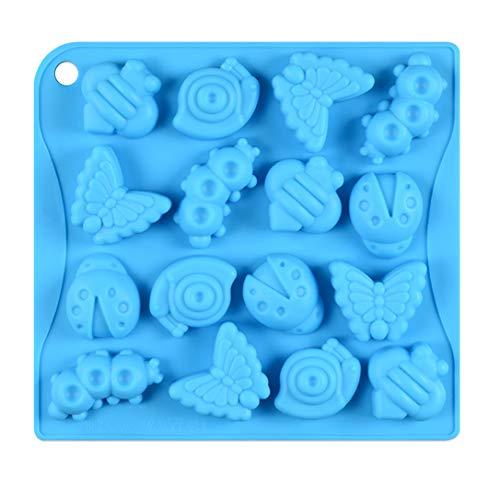 JasCherry Stampo in Silicone, Stampi per Caramelle e Cioccolato, Stampi per Cottura a Motivi 16 Cavità 3D a Forma di Insetto, per Muffin Gelatina Cioccolato (26 X 14.5 X 2.5 cm)