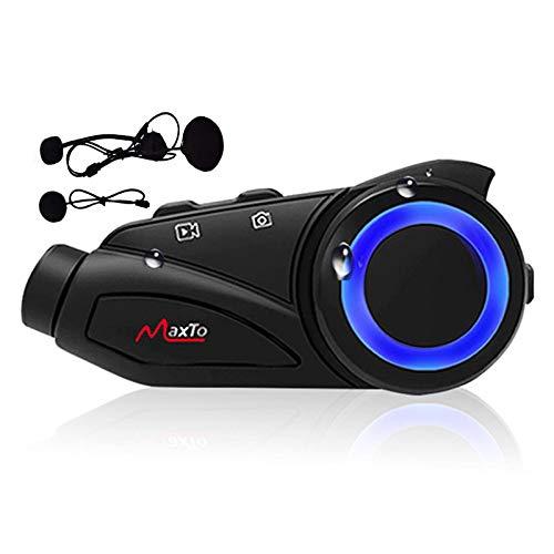 ALLWIN Sistema Comunicación Registrador Cámara Tablero Motocicleta,Moto Intercomunicador Inalámbrico 1000M 6 Riders,Kit Auriculares Bluetooth Casco Manos Libres/Asistente Google Siri/GPS