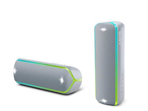 Sony SRS-XB32 Speaker Compatto Portatile con Extra Bass, Resistente all'Acqua, Luminoso, Grigio