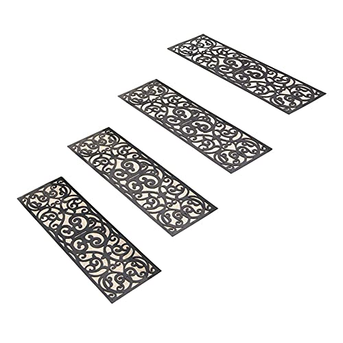 Skid Resistant Butterfly Stair Traction Treads - Set of 4, Black