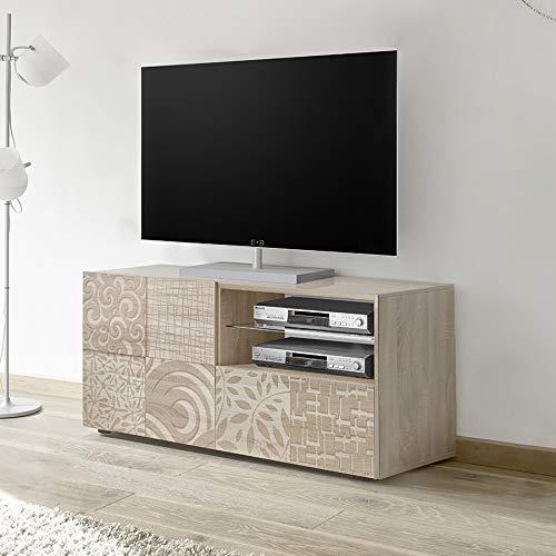 Kleine tv-kast 120 cm met LED, modern, licht eiken ELMA 3, met verlichting