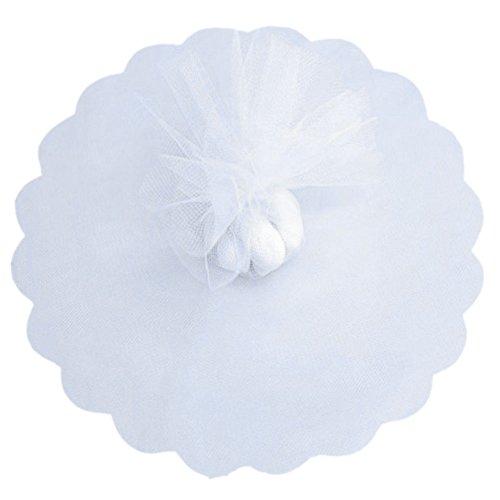Sumshy 100pz Velo Organza Confetti Bianco Tondo Tulle Organza Portaconfetti per Matrimonio Nascita Bomboniere Laurea Tulle Confetti
