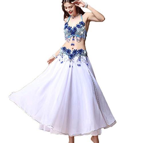 CX Juego De Vestuario para Danza del Vientre, Traje De Baile De Danza Oriental para Mujer Adulta (Color : Lake Blue, Tamaño : S)