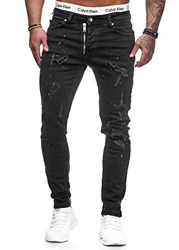 Herren Designer Chino Jeans Hose Basic Stretch Jeanshose Slim Fit W28-W36 Schwarz Risse 5073 W32 L32