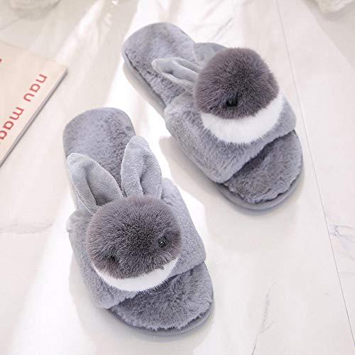 Pantoffels dames katoen slippers, grijs, zachte schattige konijnen, lekkere toe, home indoor, school, slaapzaal, antislip, herfst en winter vrije tijd, aangenaam zacht, licht dames huisje