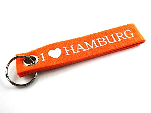 City Souvenir Shop Filz-Schlüsselanhänger I Love Hamburg, orange