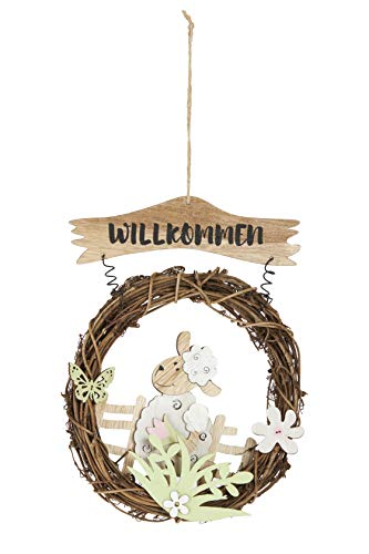 HEITMANN DECO Türkranz mit Schaf - Willkommen - Fensterkranz, Wanddeko, Frühlingsdeko, Osterdeok - Natur, Weiß, Grün