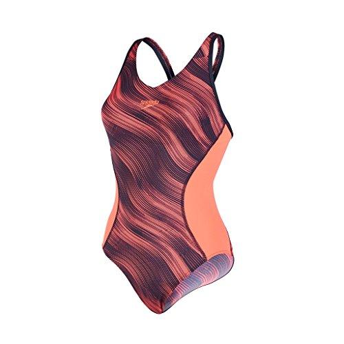 Speedo Spierrugpasvorm voor dames, Splice Allover Muscleback Badpak-Zwart/Diepe periode, Maat 34