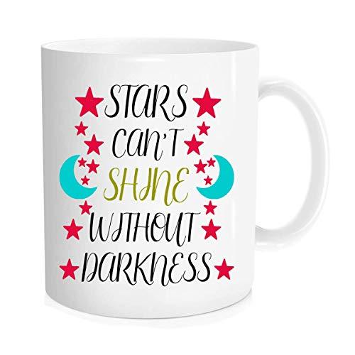 Funny Coffee Mug - Taza de café con motivación, diseño de estrellas y texto en inglés
