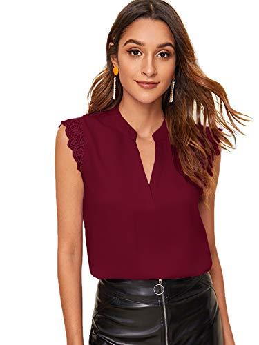 SOLY HUX Femme Blouse sans Manches avec Dentelle Top Col Découpe Chemisier Dété Elégant Casual Chic Mousseline Hauts Shirt Bordeaux 3-XL