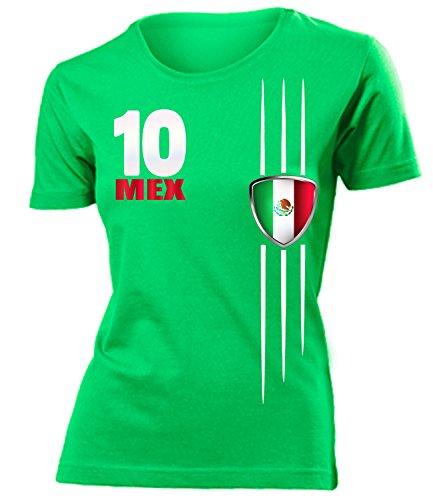 Mexiko 3340 Fussball Fanshirt Fan Shirt Tshirt Fanartikel Artikel Frauen Damen T-Shirts Grün XL
