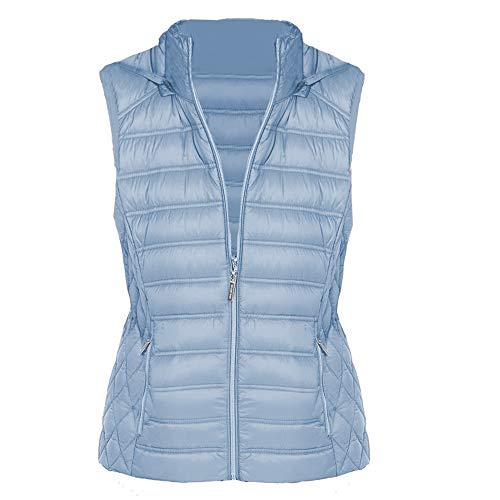 Michael Kors Women's Chambray Down Puffer Hooded Vest Jacket (M)
