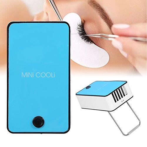 Secador de pestañas, mini ventilador para pelo de pestañas, ventilador USB recargable, portátil, secador de pestañas eléctrico, secador para extensiones de pegamento (azul)