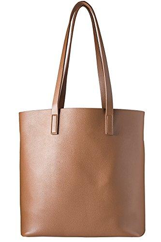 cecilia&bens Damen Handtasche   Shopper groß   Schultertasche Umhängetasche inkl. Innentasche mit Reißverschluss 100% vegan, Farbe:braun