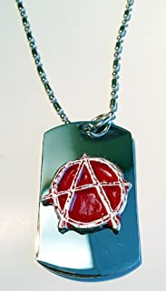 Anarchy Hand Painted Red Pewter Emblem Logo Symbols - Military Dog Tag Luggage Tag Key Chain Metal Chain Necklace