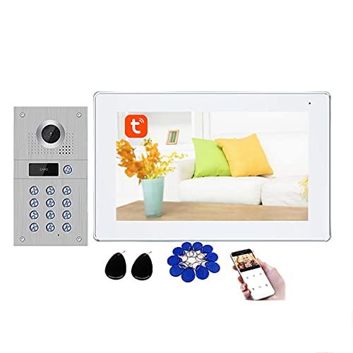 Tuya Smart Timbre con video Wifi, sistema de intercomunicación con video 1080P, contraseña con tarjeta RFID, cámara de seguridad con desbloqueo,1 monitor