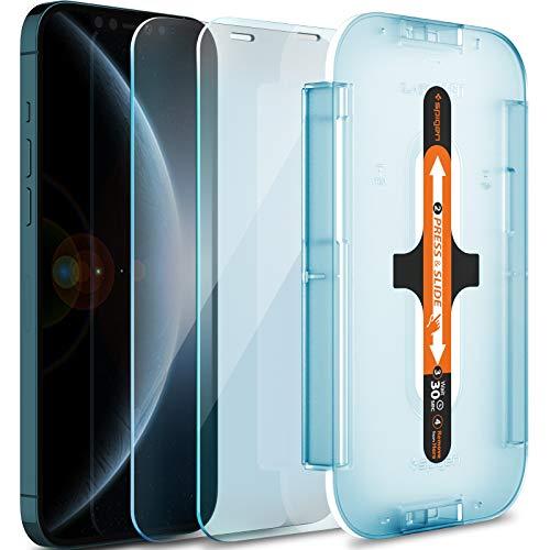 Spigen Glas.tR EZ Fit Panzerglas kompatibel mit iPhone 12 Pro Max, 2 Stück, Sensor Schutz, Kratzfest, 9H Härte Schutzfolie