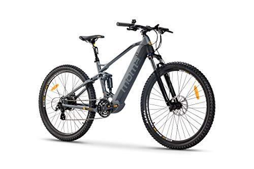 "Moma Bikes Bicicleta Eléctrica E-MTB 29"" Full Suspension, Shimano 24vel, frenos hidráulicos, batería Litio 48V 13Ah (624Wh)"