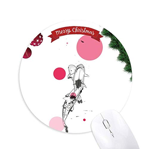 Tradition Pair Chinese Fish Round Rubber Mouse Pad Weihnachtsbaum Mat