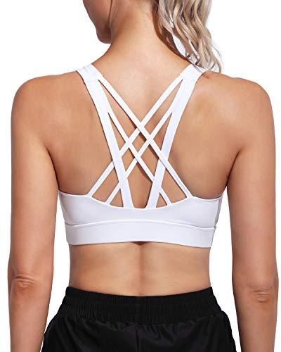 Promover Sujetadores Deportivos Acolchados para Mujer Sujetador Medio Strappy Wirefree Yoga Longline Camisola