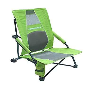 STRONGBACK Low Gravity Beach Chair with Lumbar Support, Lime Green
