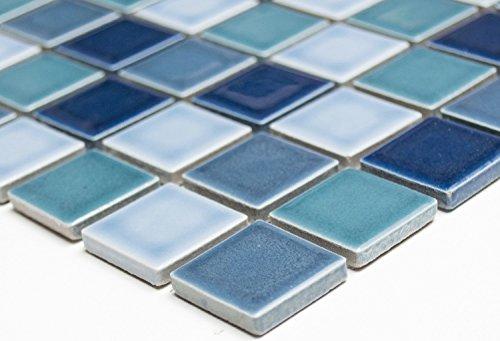 Mosaik Quadrat mix blau glänzend Keramik, Mosaikstein Format: 2,5x2,5x6 mm, Bogengröße: 60 x 100 mm, 1 Handmuster ca. 6x10 cm
