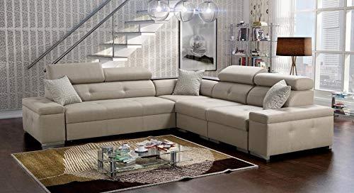 Großes Bequemes Ecksofa Wohnlandschaft mit Schlaffunktion und Bettkasten Lumi Abstellfläche Polstersofa Couch Sofa 26 (Rechts)