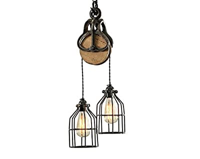 West Ninth Vintage Wood and Iron Barn Pulley Light