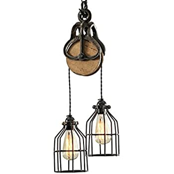West Ninth Vintage Wood and Iron Barn Pulley Light (Black & Copper Accents)