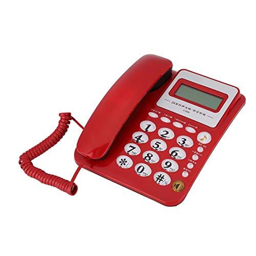 FOLOSAFENAR Función de calculadora Duradera Teléfono de casa Fuerte Función de Reloj Despertador Tonos de Llamada de 24 Estilos Teléfono de Oficina, para Oficina, para el hogar, para(Red)