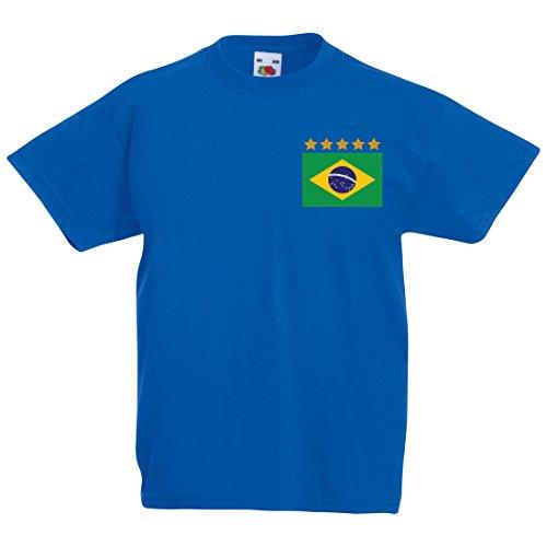 Printmeashirt Maßgeschneiderte Kids Anpassbar Brasilien Away T-Shirt Gr. 14 Jahre, Königsblau