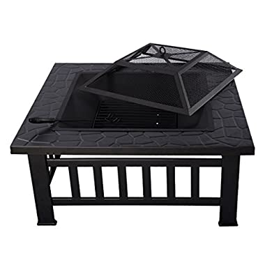Giantex Outdoor 32  Metal Firepit Patio Garden Square Stove Fire Pit Brazier