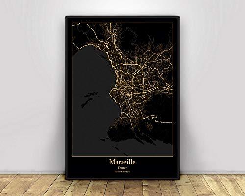 Prints Canvas, Marseille France Black&Gold City Light Maps Custom World City Map Poster Canvas Prints Nordic Style Wall Art Home Decor,20 * 30cm