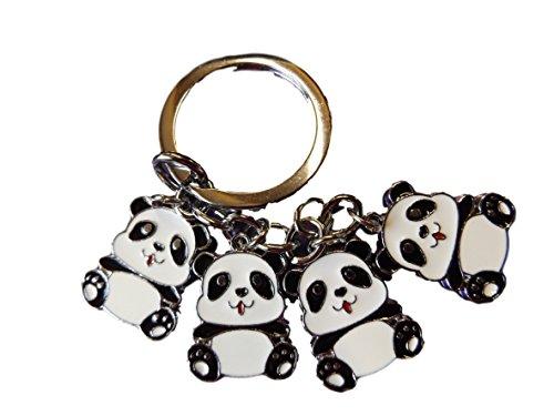 Grasso-CATZ-Copy-CATZ - nero sveglio & Bianco Panda Zoo Animal metallo solido portachiavi fascino idea regalo (4 trailer)