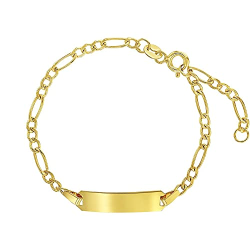 14k Yellow Gold Unisex Adjustable Kids ID Bracelet with Engravable Identification Tag - Cute Figaro Link Chain Rectangular Name Plate Bracelets for Babies & Children - Small ID Bracelet